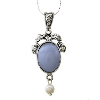 Beverly Hills Charm Silver White FW Pearl and Blue Agate Necklace (5 mm)