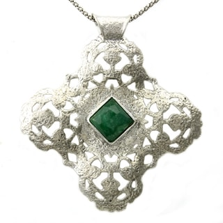 Beverly Hills Charm Silver Dyed Emerald Cross Necklace