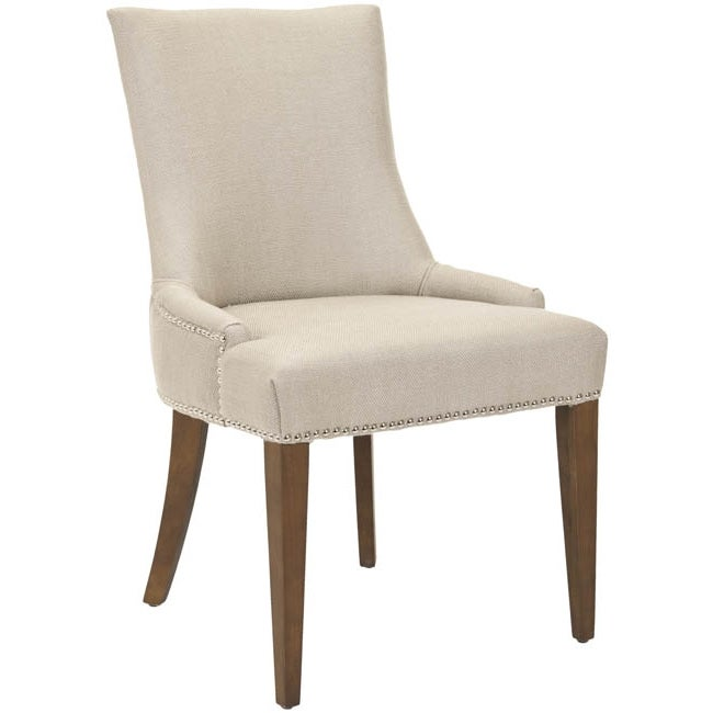 Safavieh Becca Beige Viscose Walnut Finish Dining Chair