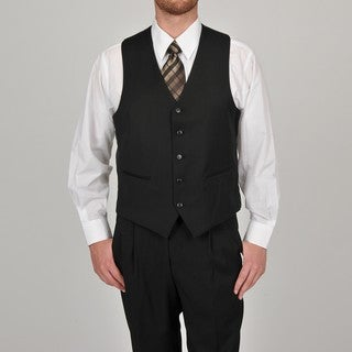 Adolfo Men's Solid Black 5-button Suit Separate Vest