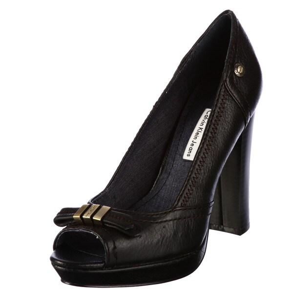 Calvin Klein Jeans Women's 'Jackie' Black Peep Toe Pumps