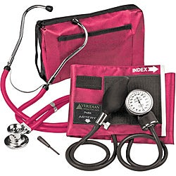 Magenta Adjustable Aneroid Sphygmomanometer with Sprague Stethoscope Adult Kit