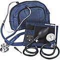 Veridian Adult Navy Blue Adjustable Aneroid Sphygmomanometer Sprague Stethoscope Kit