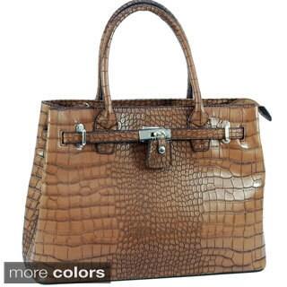 Dasein 'Precious' Faux Leather Croco Front-lock Satchel