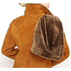 Aston Leather Women's Sheepskin Shearling Hooded Car Coat