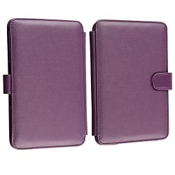 Purple Leather Case for Amazon Kindle 3