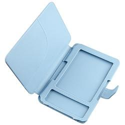Light-blue Smooth Leather Case for Amazon Kindle 3 with Snap Closure