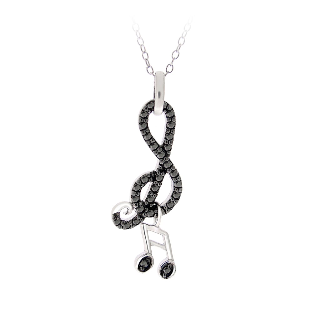 DB Designs Sterling Silver Black Diamond Accent Musical Note Necklace