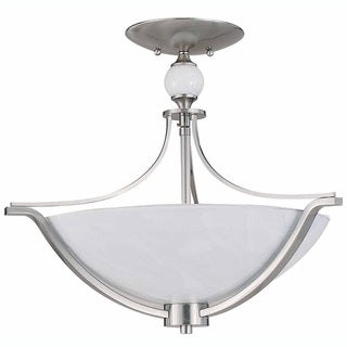 Triarch International Halogen VI 3-light Brushed Steel Flush Mount