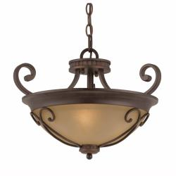 Triarch International Corsica 3-light English Bronze Semi-Flush Mount