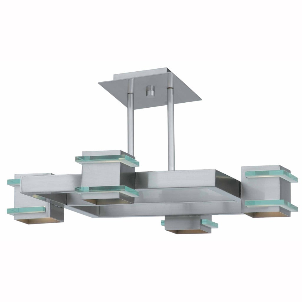Triarch International Deco 4-light Brushed Steel Semi-Flush Mount