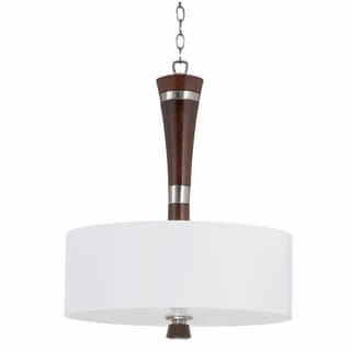 Triarch International Brady 3-light Brushed Steel and Wood Pendant Chandelier