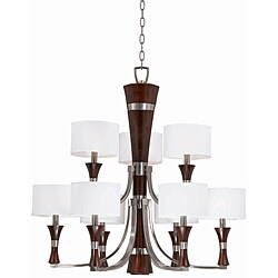 Triarch International Brady 9-light Brushed Steel and Wood Chandelier