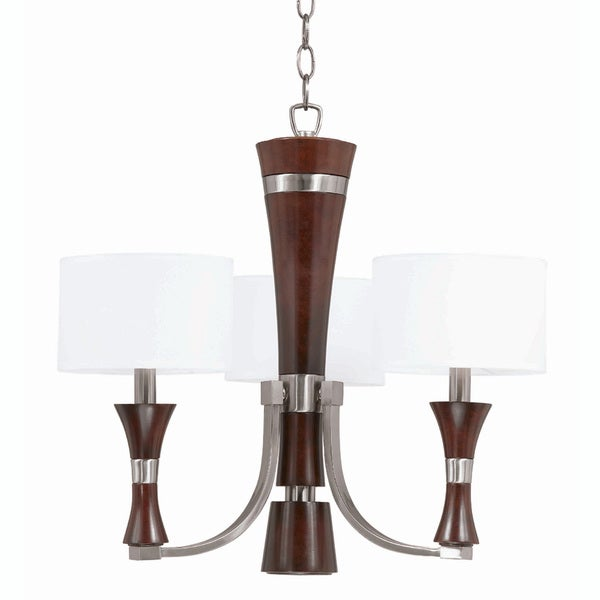 Triarch International Brady 3-light Brushed Steel and Wood Chandelier