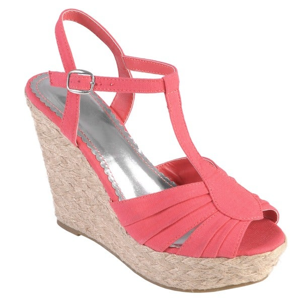Journee Collection Women's 'Booster' Peep Toe T-strap Wedge