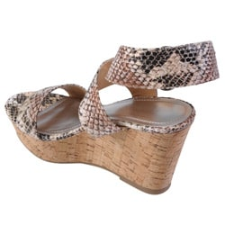 Snake Journee Collection Women's 'Pippa' Open Toe Ankle Strap Wedge