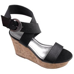 Journee Collection Women's 'Pippa' Black Open Toe Ankle Strap Wedge