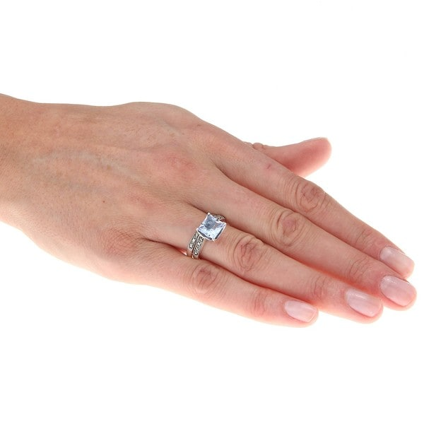 Sterling Silver Synthetic Blue Quartz and Marcasite Ring Set