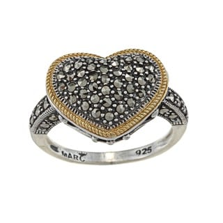 MARC Gold over Silver Marcasite Heart Ring