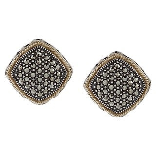 MARC Gold over Sterling Silver Marcasite Diamond-shaped Earrings