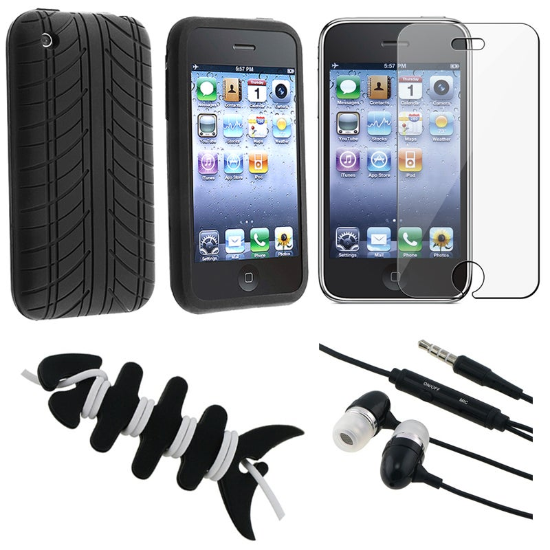 INSTEN Black Phone Case Cover/ Screen Protector/ Headset/ Wrap for Apple iPhone 3GS