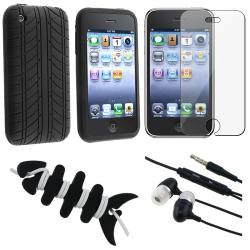 Black Case/ Screen Protector/ Headset/ Wrap for Apple iPhone 3GS