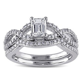 Miadora 14k White Gold 1ct TDW Diamond Ring Set (G-H, I1-I2)