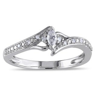 Miadora 10k White Gold 1/6ct TDW Marquise-cut Diamond Promise Ring (G-H, I2-I3)