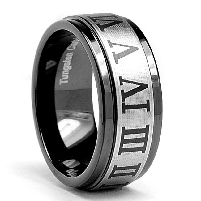 Tungsten Carbide Men's Black Roman Numeral Laser Etched Ring (9 mm)