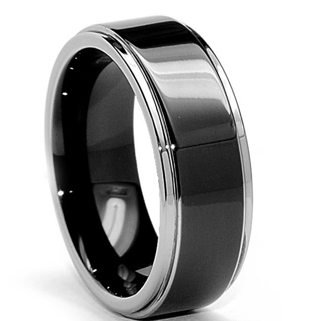 Men's Tungsten Carbide Two-Tone Black-plated Ring (8 mm)