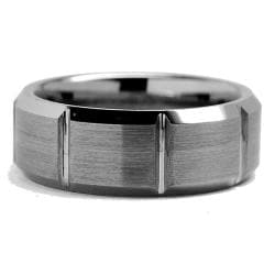 Men's Tungsten Carbide Grooved Comfort-Fit Ring (8 mm)