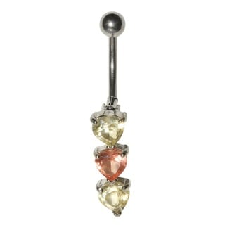 Supreme Jewelry Surgical Steel 14G Top-down Pink and Amber Cubic Zirconia Belly Ring