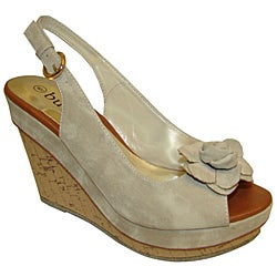 Bucco Women's Beige Slingback Wedge Sandals