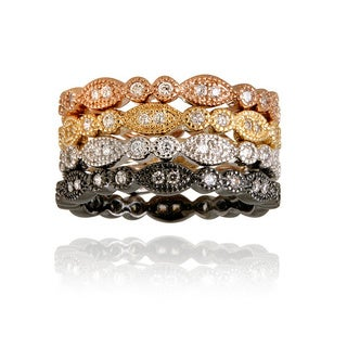 Icz Stonez Rhodiumplated Stackable Cubic Zirconia Ring