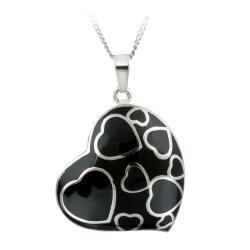 Glitzy Rocks Stainless Steel Black Enamel Heart Necklace