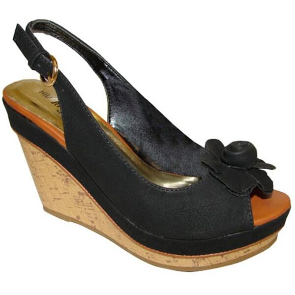 Bucco Women's Black Slingback Wedge Sandals