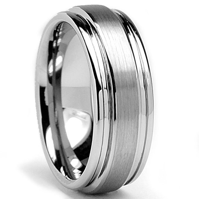 Men's Tungsten Carbide Grooved Brushed and Polished Ring (8 mm)