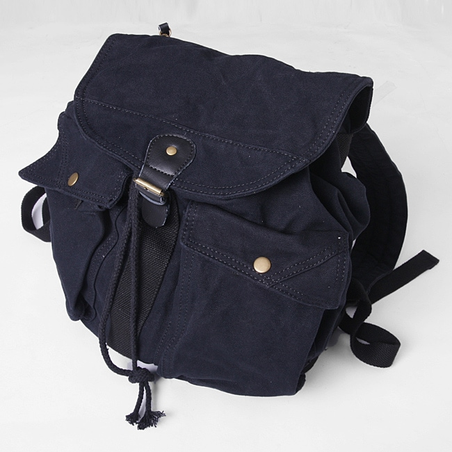 Black 'Caravan' 16-inch Washed Cotton Canvas Backpack