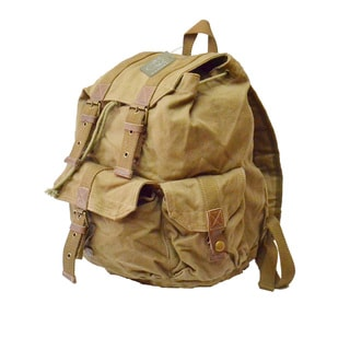 Rakuda Khaki 'Carrier' 16-inch Washed Cotton Canvas Backpack