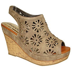 Bucco Women's Tan Cutout Slingback Wedge Sandals