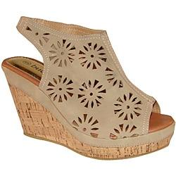 Bucco Women's Beige Cutout Slingback Wedge Sandals