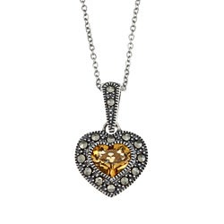 Sterling Silver Honey Citrine and Marcasite Heart Necklace