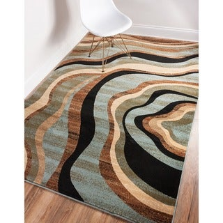 Nirvana Waves Multi Abstract Geometric Blue, Beige, Ivory, Brown, Green, and Black Area Rug (7'10 x 9'10)