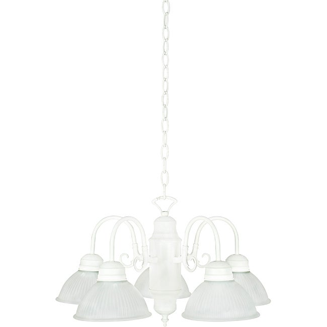 Five-Light Textured White Frosted-Prismatic-Glass Chandelier
