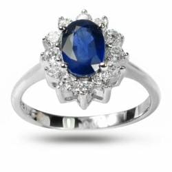 De Buman Highly Polished Sterling Silver Sapphire and Cubic Zirconia Ring