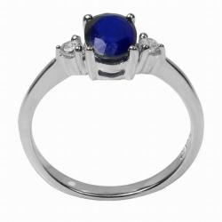 De Buman White Sterling Silver Sapphire and Cubic Zirconia Ring