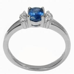 De Buman Elegant Sterling Silver Sapphire and Cubic Zirconia Ring