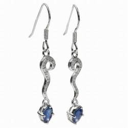 De Buman Sterling Silver Blue Sapphire and Cubic Zirconia Earrings