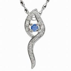 De Buman Sterling Silver Sapphire and Cubic Zirconia Necklace