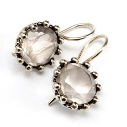 Sterling Silver Rose Quartz Earrings (India)